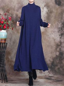 Turtleneck Plus Size Sweater Long Dress