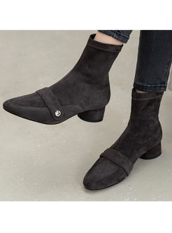 Pointed Toe Chunky Heel Flock Short Boots