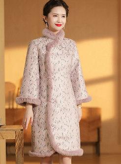 Rabbit Hair Patchwork Jacquard Cheongsam Dress