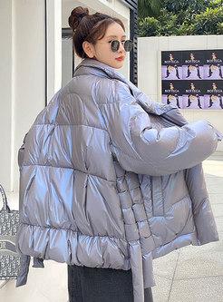 Long Sleeve Shiny Straight Down Coat