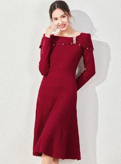 Slash Neck Beaded A Line Sweater Midi Dress