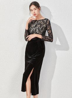 Openwork Lace Patchwork Split Bodycon Dress