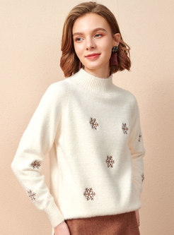 Long Sleeve Snowflake Embroidered Sweater