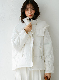 Solid Removable Hooded Straight Puffer Coat