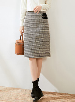High Waisted Houndstooth Straight Skirt