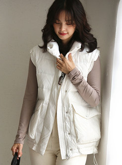 Flap Pocket Sleeveless Loose Duck Down Vest