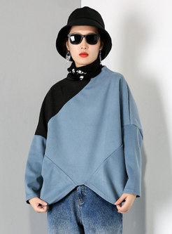 Color-blocked Pullover Plus Size Sweatshirt