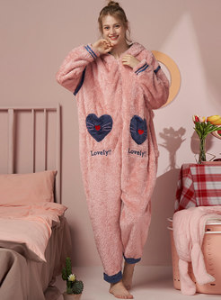 Cute Letter Embroidered Coral Pajama