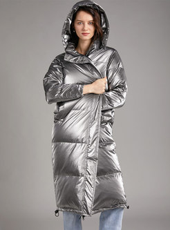 Hooded Shiny Straight Long Puffer Coat