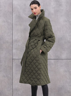 Solid Color Plaid Down Coat With Belt