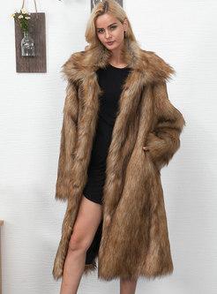 Turn Down Collar Long Faux Fur Coat