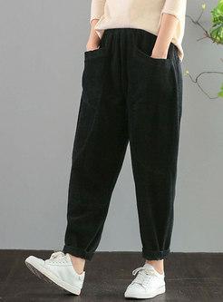 High Waisted Corduroy Harem Pants