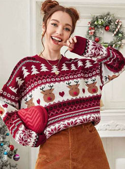 Crew Neck Print Pullover Sweater