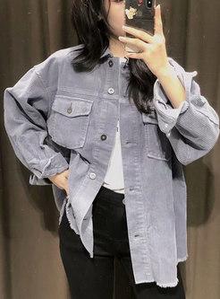 Long Sleeve Corduroy Flap Pocket Shirt