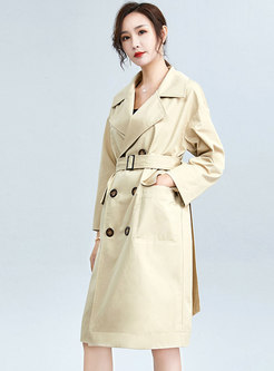 Notched Double-breasted Straight Trench Coat