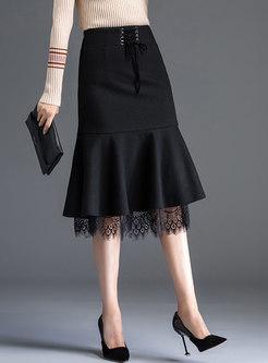 High Waisted Lace Patchwork Peplum Skirt