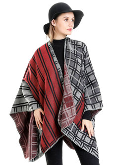 Color-blocked Striped Patchwork Plaid Shawl Scarf