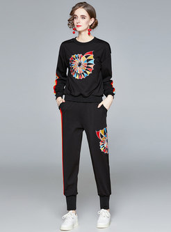 Geometric Print Pullover Sweatshirt Pant Suits