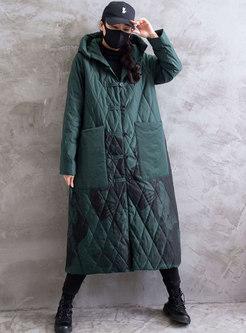 Print Hooded Single-breasted Long Coat