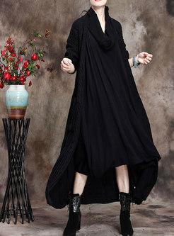 V-neck Long Sleeve Straight Knitted Coat