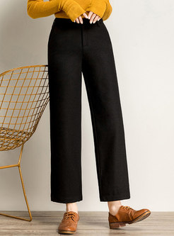 High Waisted Solid Wide Leg Cropped Pants