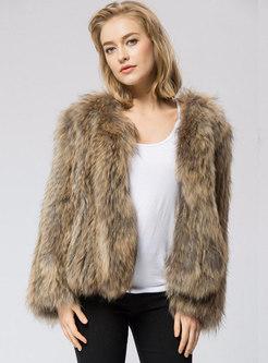 Crew Neck Short Faux Fur Coat