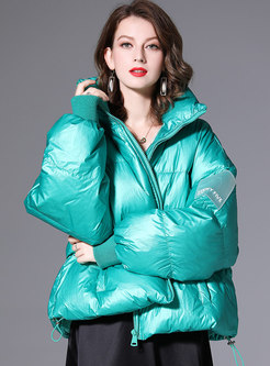 Long Sleeve Shiny Solid Puffer Jacket