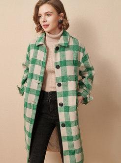 Lapel Plaid Knee-length Straight Overcoat