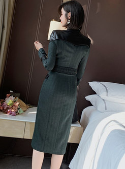 Mock Neck PU Patchwork Bodycon Dress