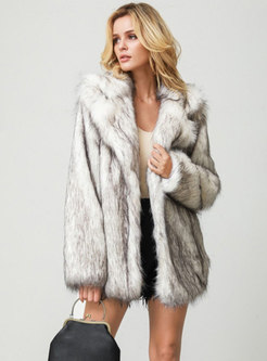 Lapel Long Sleeve Straight Faux Fur Coat