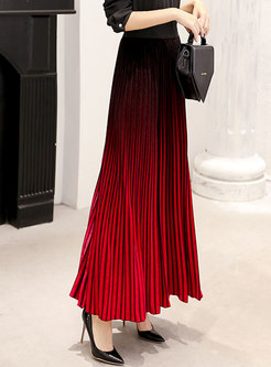Gradient Color Pleated Long Velvet Skirt