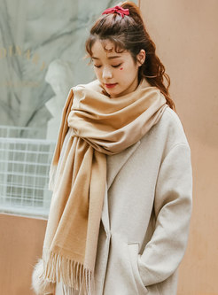 Faux Cashmere Color-blocked Fringed Scarf