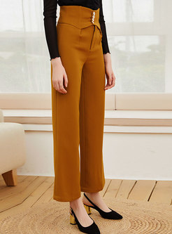 High Waisted Casual Straight Long Pants