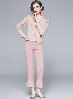 V-neck Plaid Slim Knitted Pant Suits