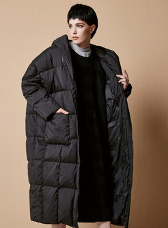 Hooded Straight Plus Size Long Puffer Coat