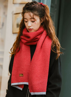 Color-blocked Wool Blend Winter Scarf