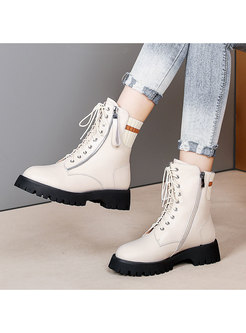 Rounded Toe Chunky Heel Ankle Boots