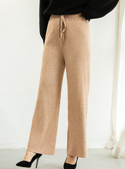 High Waisted Ribbed Knitted Wide Leg Pants
