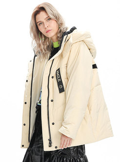 Letter Print Patchwork Mid-length Down Coat