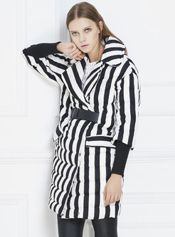 Lapel Striped Belted Mid-length Down Coat