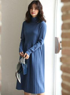 Turtleneck Long Sleeve Sweater Pleated Dress