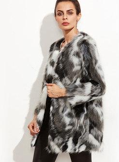 Crew Neck Color-blocked Faux Fur Coat