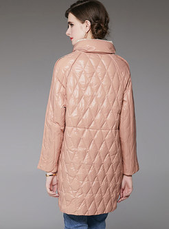 Mock Neck Diamond Mid-length Down Coat