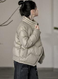 Mock Neck Single-breasted Short Down Coat