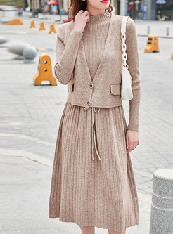Long Sleeve Drawstring Sweater Dress With Vest