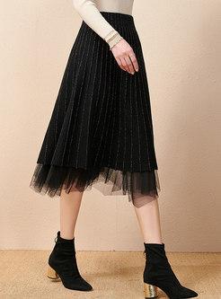 Black High Waisted Mesh Pleated Skirt