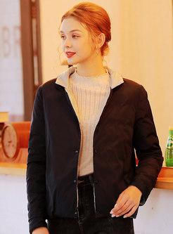 Stand Collar Reversible Short Puffer Jacket