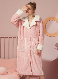 Lapel Color-blocked Long Shift Robe