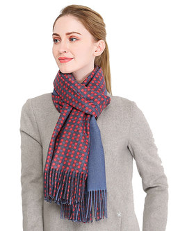 Faux Cashmere Plaid Fringed Long Scarf
