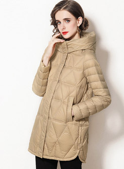 Hooded Solid Straight Down Coat